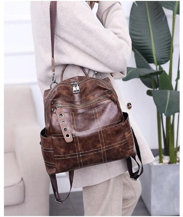 pu leather brown backpack