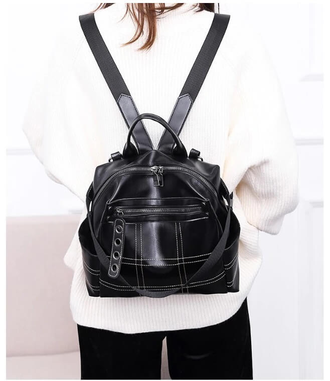 PU learther black backpack