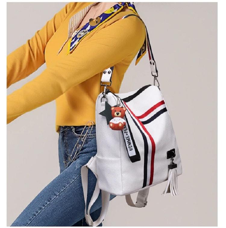 Yello dress girl white bag