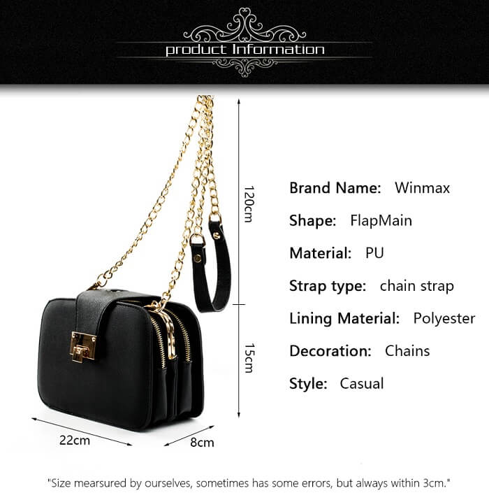 Spec of chain black bag