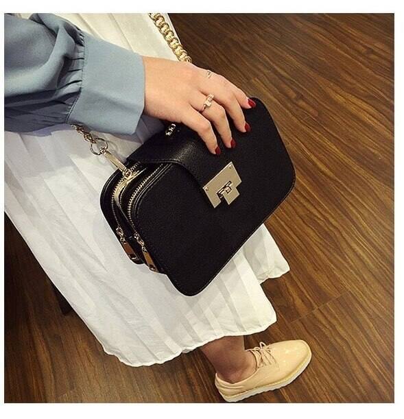 Chain black bag women