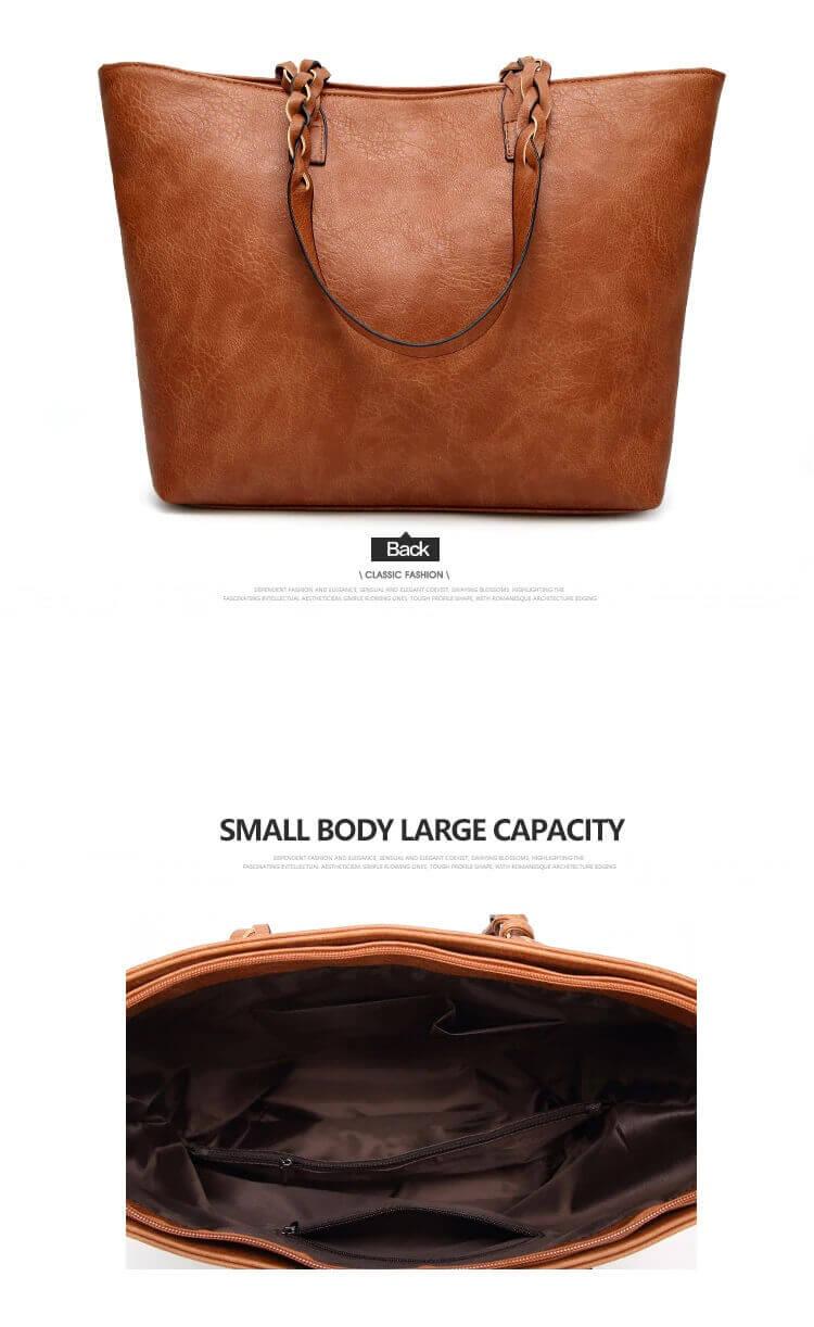 Brown handbag interior