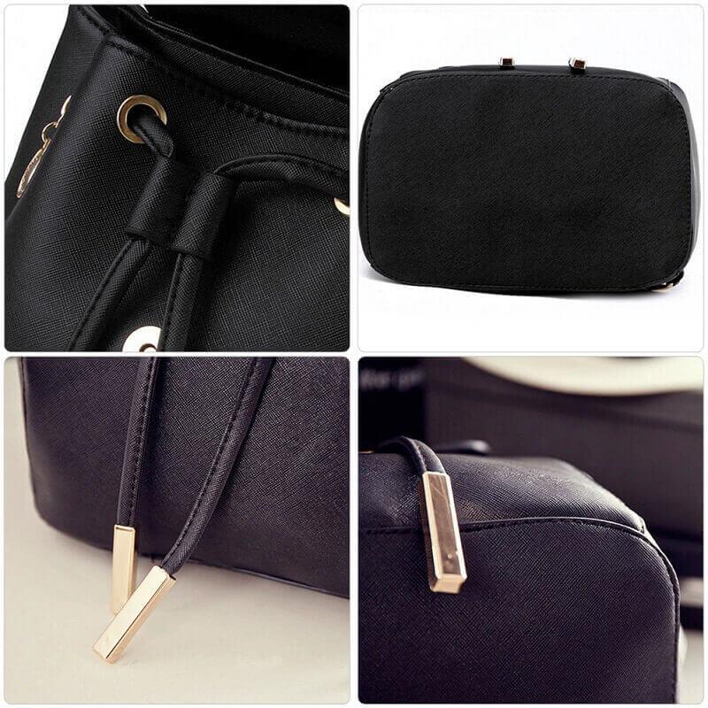 Black bagpack close look